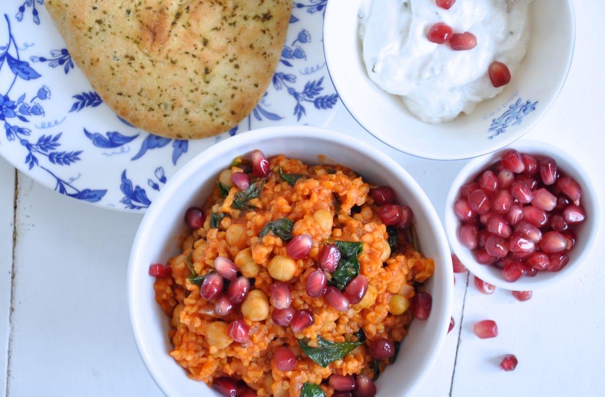 One Pot Bulgur mit Spinat
